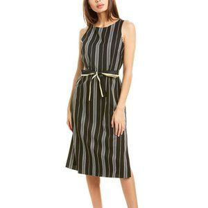 Vince Camuto Striped Belted Midi Dress Black/White 4